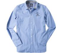Herren Hemd, Baumwolle, hellblau-weiß gemustert