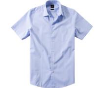 Herren Hemd, Popeline, bleu meliert blau