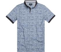 Herren Polo-Shirt, Baumwolle, blau gemustert