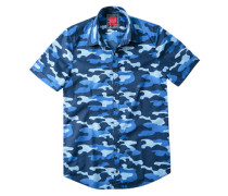 Herren Hemd Popeline, camouflage blau
