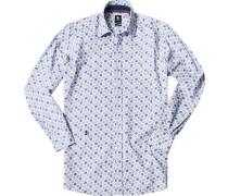 Herren Hemd Regular Fit Popeline dunkelblau-weiß gemustert