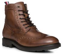 Herren Schuhe Schnürstiefeletten, Leder, cognac braun
