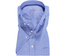 Herren Hemd Comfort Fit Popeline marineblau-weiß kariert