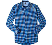 Herren Hemd Casual Modern Fit Baumwolle dunkelblau-blau gemustert