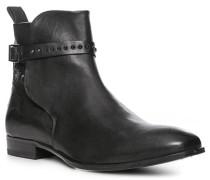 Herren Schuhe Stiefelette, Glattleder, schwarz