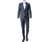 Herren Anzug, Slim Fit, Schurwolle, blau kariert