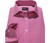 Hemd Slim Fit Popeline pink gemustert