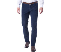 Herren Cordhose Slim Fit Baumwoll-Stretch marine blau