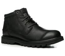 Herren Schuhe Schnürstiefeletten Nubukleder schwarz schwarz,schwarz