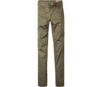 Herren Jeans Straight Fit Baumwoll-Stretch grün