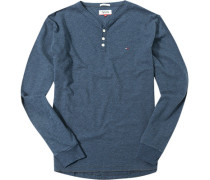 Herren Langarm-Shirt Baumwolle navy meliert blau