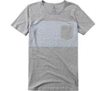 Herren T-Shirt Baumwoll-Mix hellgrau-hellblau gestreift