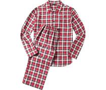 Herren Schlafanzug Pyjama Baumwoll-Flanell rot-dunkelblau kariert