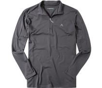 Herren Zip-Polo-Shirt Microfaser-Stretch Drycomfort dunkel