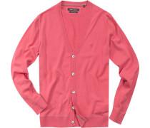Herren Cardigan Baumwolle pink rot