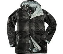 Herren Snowboard-Jacke Microfaser isolierend wattiert schwarz-grau gemustert grau,schwarz