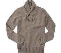 Herren Pullover Troyer Lammwollmischung taupe meliert beige,braun