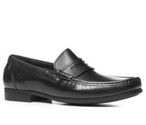 Herren Schuhe Mokassin Kalbleder schwarz schwarz,grau