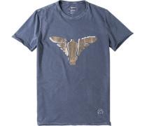 Herren T-Shirt, Slim Fit, Baumwolle, taubenblau