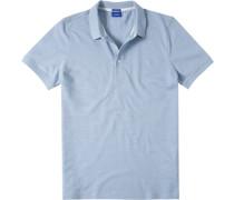 Herren Polo-Shirt Modern Fit Strukturgewebe aqua meliert blau