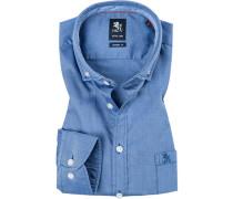 Herren Hemd Modern Fit Baumwolle blau