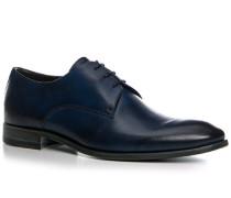Herren Schuhe Derby Kalbleder glatt blue scuro blau,rot