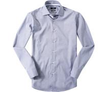 Herren Hemd Regular Fit Popeline navy-weiß gemustert blau