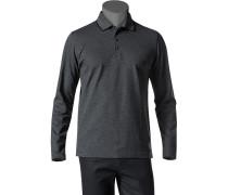 Herren Polo-Shirt Baumwoll-Piqué schwarz-weiß gemustert