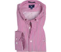 Herren Hemd Regular Fit Twill rot-weiß gestreift