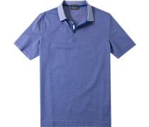 Herren Polo-Shirt Baumwoll-Piqué royal gemustert