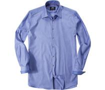Herren Hemd Strukturgewebe blau gemustert