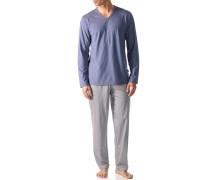 Herren Schlafanzug Pyjama Baumwoll-Mix rauchblau-hellgrau gestreift
