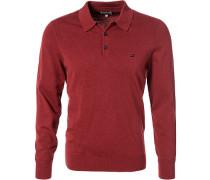 Herren Polo-Shirt, Baumwolle, rot meliert