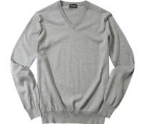 Herren Pullover Baumwoll-Seide-Kaschmir-Mix grau meliert