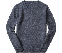 Herren Pullover Woll-Mix dunkelblau meliert