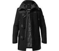 Herren Mantel Dufflecoat Schurwolle wattiert schwarz schwarz,grau