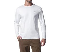 Herren T-Shirt Longsleeve Regular Fit Baumwolle weiß