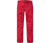 Herren Hose Chino Regular Fit Baumwolle rot