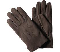 Herren Marc O`Polo Handschuhe Veloursleder braun