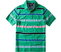 Herren Polo-Shirt Baumwoll-Piqué grün gestreift