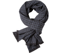 Herren Schal, Wolle, rauchblau-schwarz gemustert