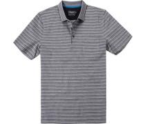 Herren Polo-Shirt Baumwolle mercerisiert schwarz gestreift grau