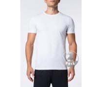Herren T-Shirts Baumwoll-Stretch weiß