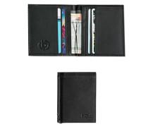 Herren Geldbörse mit Clip, Leder, schwarz