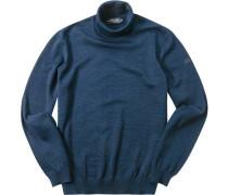 Herren Pullover Merinowolle marine meliert blau
