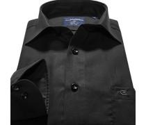 Herren Hemd Modern Fit Popeline schwarz