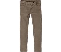Herren Cord-Jeans Shaped Fit Baumwoll-Stretch cappuccino braun