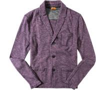 Herren Strick-Blazer Baumwolle violett meliert lila