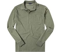 Herren Polo-Shirt Baumwoll-Jersey schilfgrün meliert