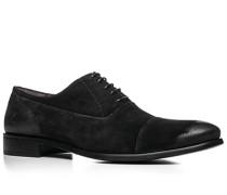 Herren Schuhe Oxford, Veloursleder, schwarz
